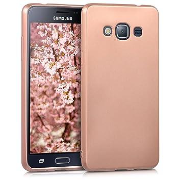 kwmobile Funda para Samsung Galaxy J3 (2016) DUOS - Carcasa para móvil en [TPU Silicona] - Protector [Trasero] en [Oro Rosa Metalizado]