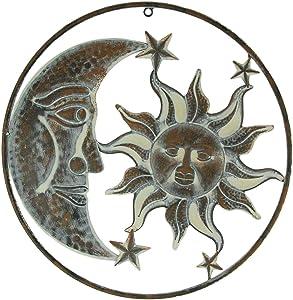 Zeckos 16.5 Inch Rustic Metal Sun Moon & Stars Wall Art Celestial Hanging Decor Indoor Outdoor Art Decoration
