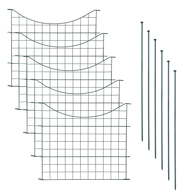 Set Zaun Unterbogen Metall Teich 5 Elemente Teichzaun Set mit 5 Zaunelementen und 6 Befestigungsst/äben Gartenzaun Gitterzaun Welpanauslauf Freigehege