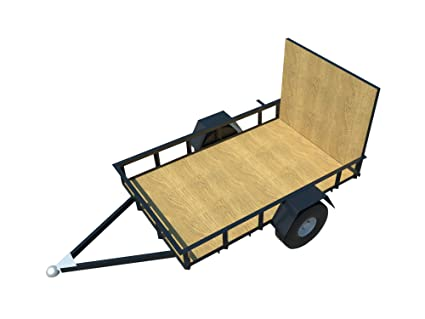 Utility Trailer Plans DIY 5\' x 8\' Open Lawn Cargo Carrier Build Your ...