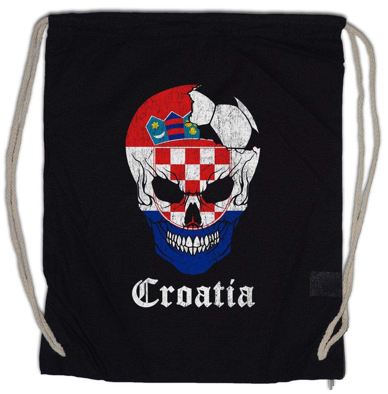 Croatia Football Skull I Drawstring Bag Gym Sack Urban Backwoods