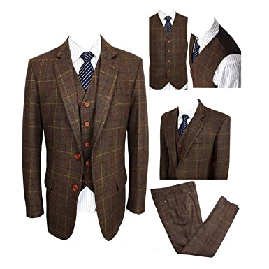 Suits & Blazers Fast Deliver 2019 New Arrival Custom Made Wool Groom Wear Vintage Plaid Tweed Vest For Rustic Wedding Plus Size Avaliable