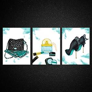Kreative Arts 3pcs Home Décor Collection Glam Perfume Pump Heels and Handbag Fine Art Prints Black and Teal Posters Giclee Artwork Canvas Painting for Bathroom Girls Room Hallway Decor 12x16inchx3pcs