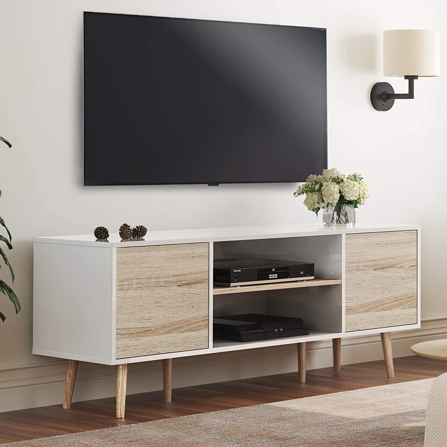 Wampat Mid Century Modern Tv Stand For Tvs Up To 60 Inch Flat Screen Wood Tv Console Media Cabinet With Storage Home Entertainment Center In White And Oak For Living Room Bedroom