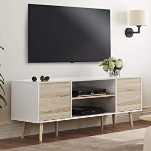 WAMPAT Mid-Century Modern TV Stand for TVs up to 60 '' Flat Screen, Wood TV Console Cabinet with Storage Shelf, Home Entertainment Center in White and Oak,Living Room Bedroom and Office