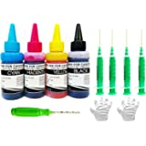 WHITE SKY Refill Ink for Canon Printer Compatible with 4 Syringes and Thumb Drill -300 ml CMYK Ink
