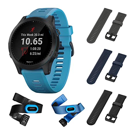 Garmin Forerunner 945 Bundle, Premium GPS Running/Triathlon Smartwatch with Music Included Wearable4U 3 Straps Bundle (Slate/Navy Blue/Black)