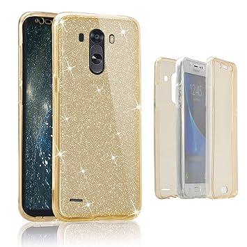 Funda tapa trasera para LG G3, Vandot Funda 360 Doble Delantera + Trasera Transparente Silicona Gel Integral para LG G3, Two Cristal Crystal Centelleo ...
