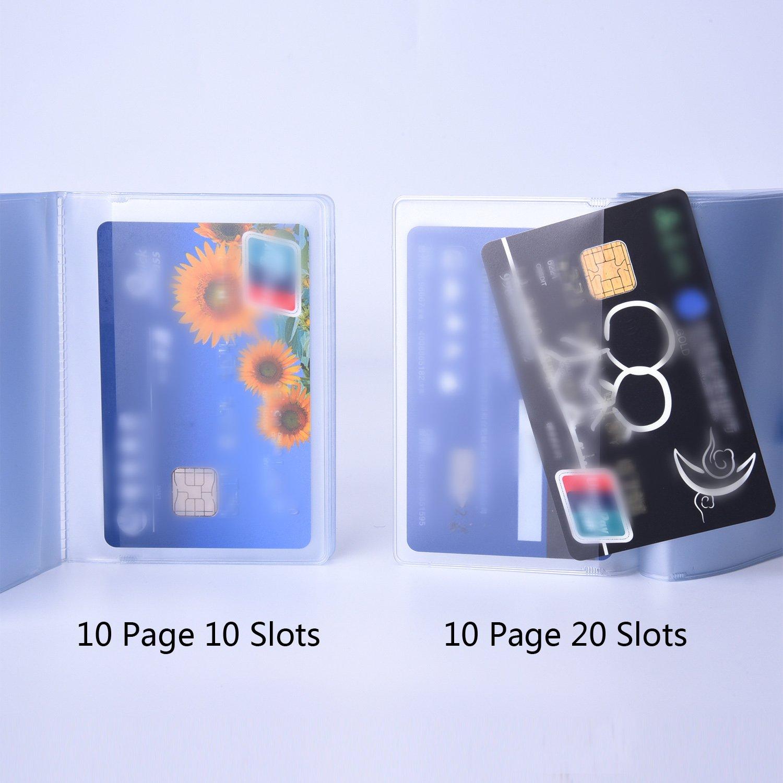 2 Pezzi Portafoglio in Plastica Inserire Carta di Credito Porta Carta con 10 Pagina 20 Slot e 10 Pagina 10 Slot Trasparente