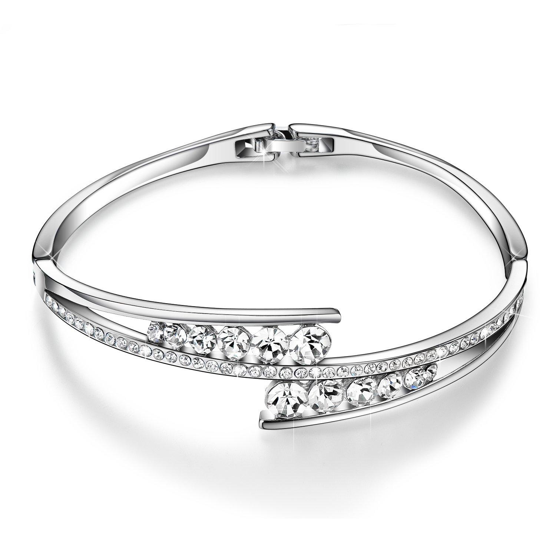Menton Ezil ''Love Encounter Women Silver Bracelet Swarovski Bangle Jewelry for Wedding by Menton Ezil