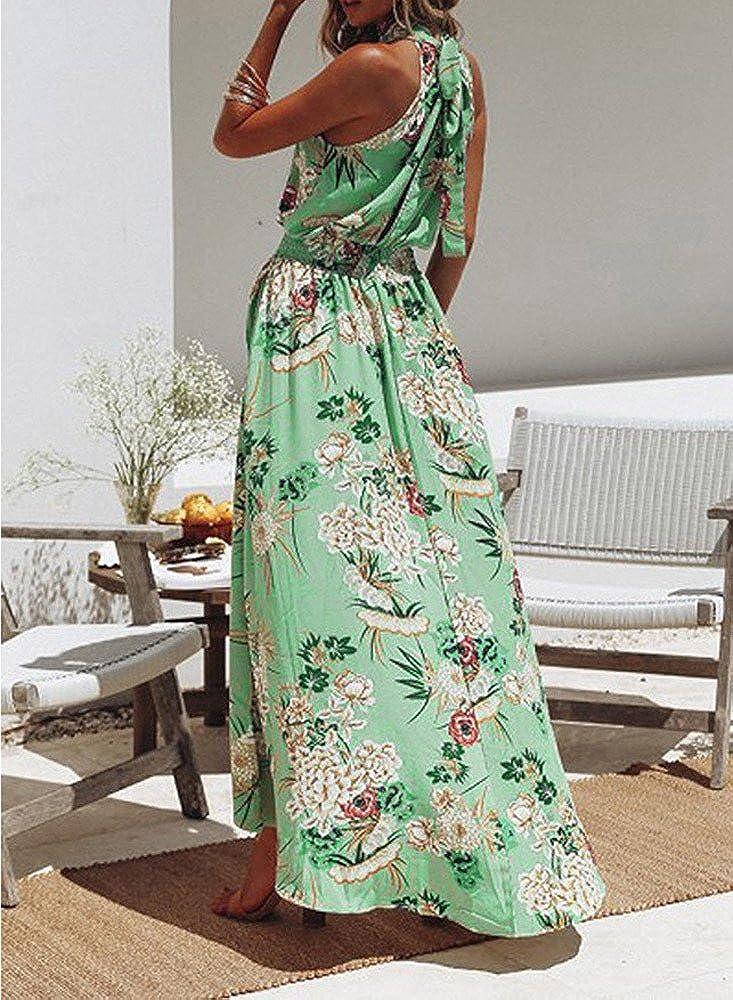 YAliDA Boutique Skirt 2019 Women Boho Floral Long Maxi Dress Sleeveless Evening Party Summer Beach Sundress