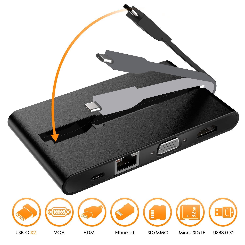 Ethernet 1000Mbps,Lector de Tarjetas MMC//SD//Micro SD//TF y USB3.0 para MacBook Pro 2018//2017 4K HDMI VGA iMac 2017 etc. JYDMIX USB-C Adaptador Multipuerto Dock USB C con USB-C de Carga 100W