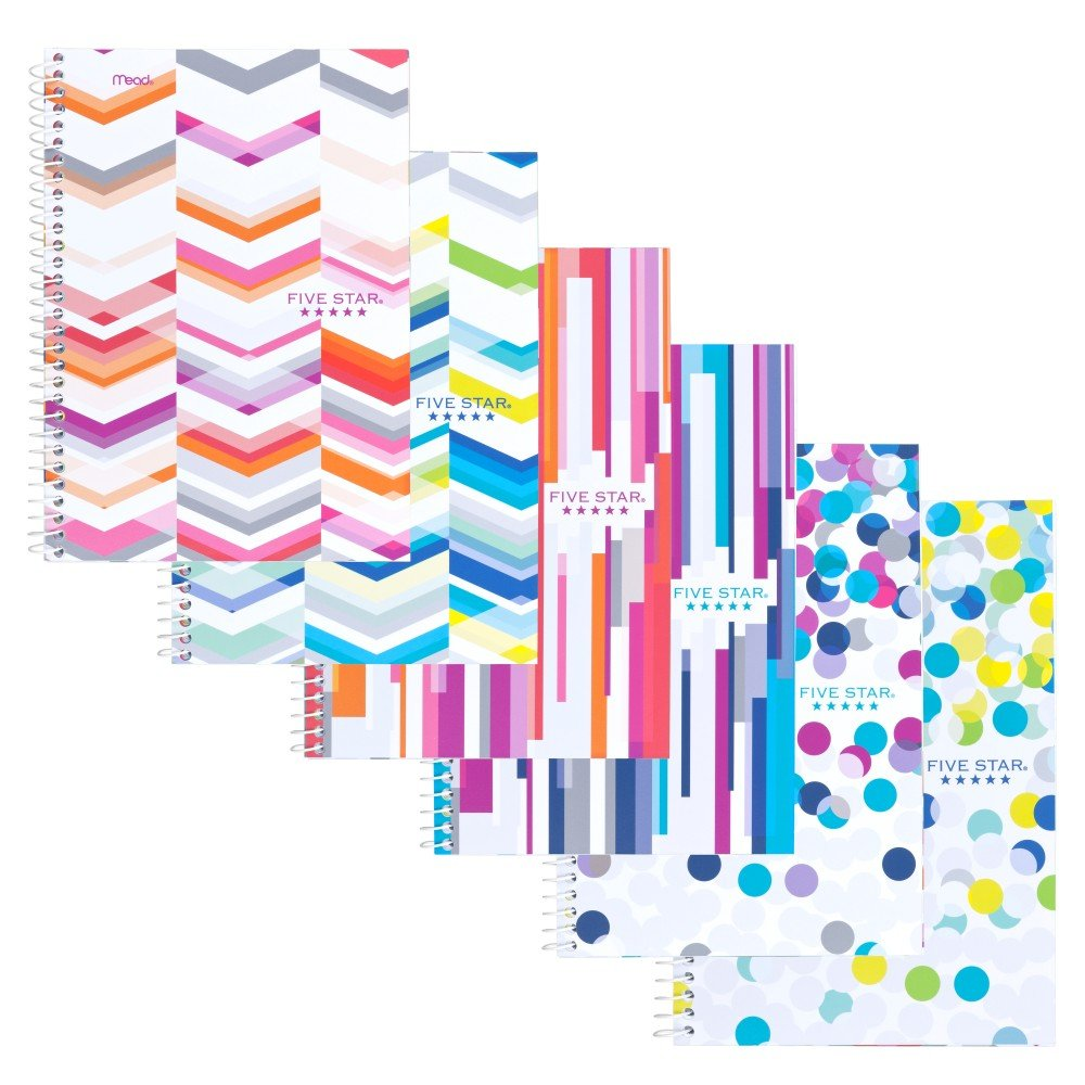 Five Star Spiral Notebook, 2 Subject, College Ruled Paper, 100 Sheets, 9-1/2'' x 6'' Sheet Size, Assorted Colors, 6 Pack (73231)