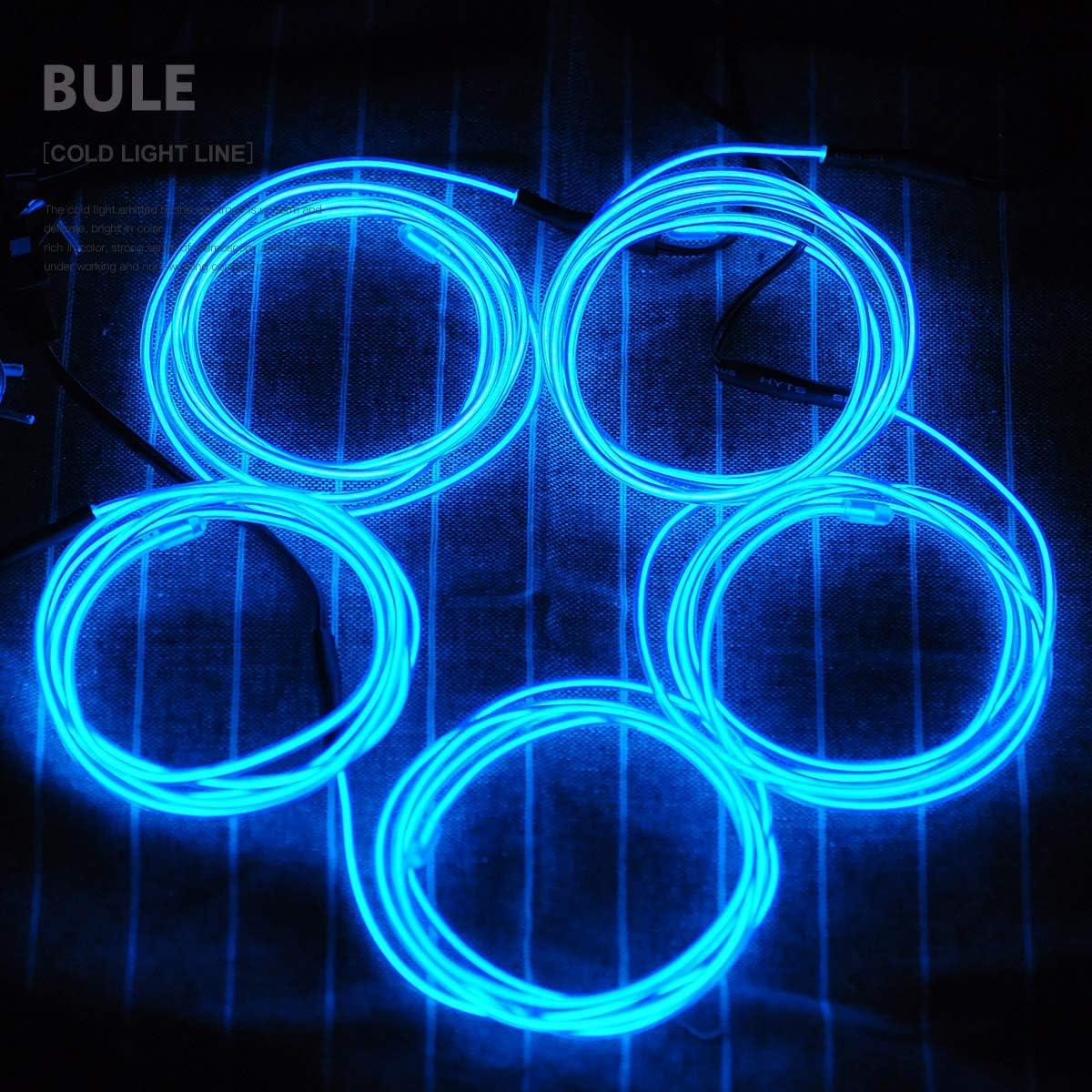 Aogbithy Flexibel Wasserdicht EL Wire EL Kabel Neon Beleuchtung leuchtschnur mit 3 Modis f/ür Partybeleuchtung,Weihnachtsfeiern und Halloween Kost/üm Rave Dekoration Gr/ün, 5 * 1M