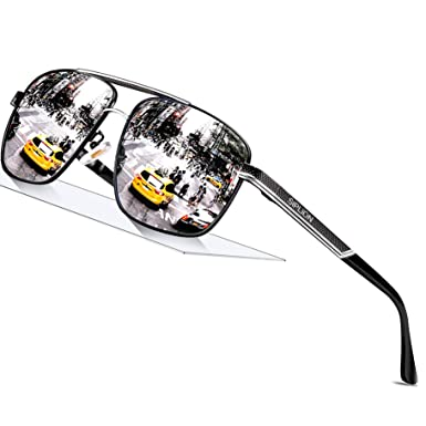 d49acd2fb3408 SIPLION Men s Driving Polarized Rectangular Square Sunglasses Metal Frame  1823 Silver  Amazon.in  Clothing   Accessories