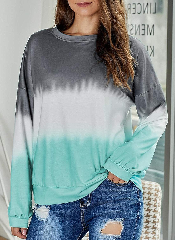 Heymiss Oversized Shirts for Women Tie Dye Long Sleeve Crewneck Sweatshirt Tops