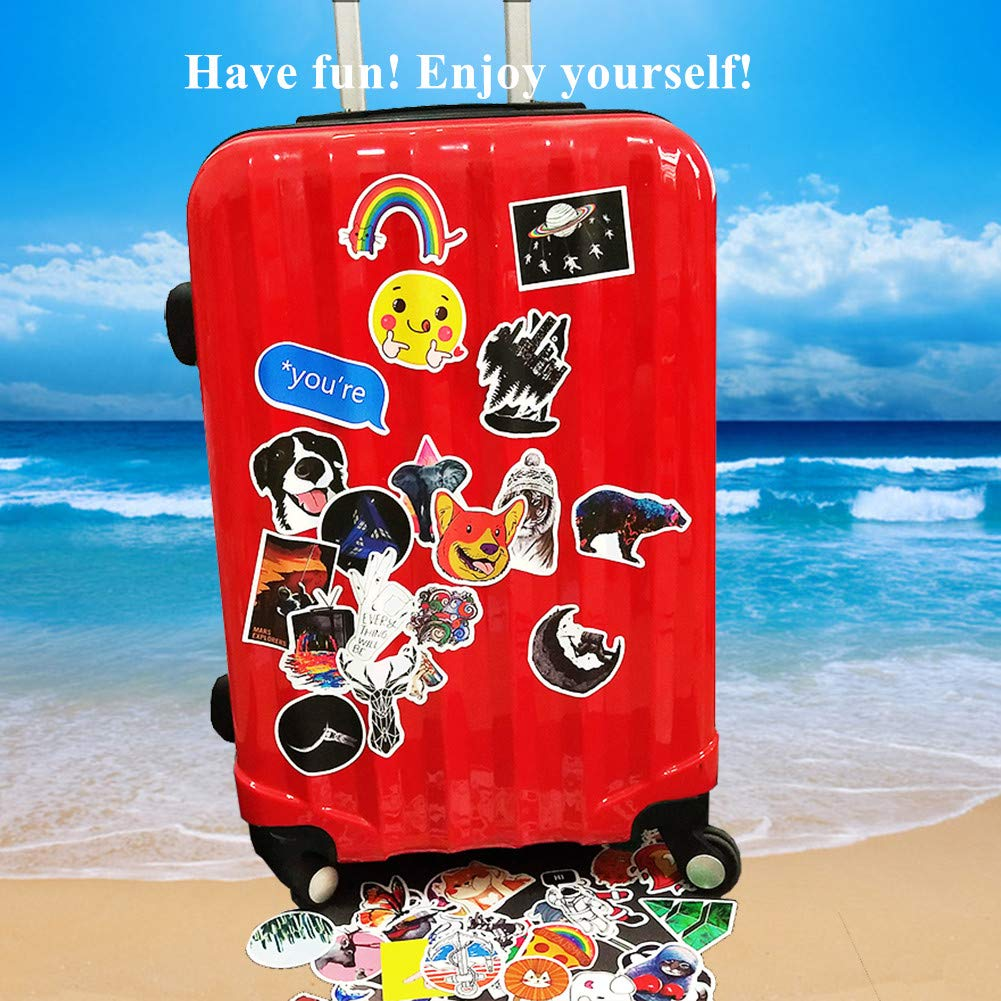 Luggage Vinyl Decal Sticker Pack Waterproof Skateboard Cute Trendy Stickers for Teens Girls Phone Perfect for Water Bottles Laptops 100 Pieces