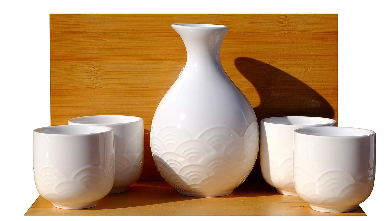 Bianco strutturato Wave Sake set 4tazze