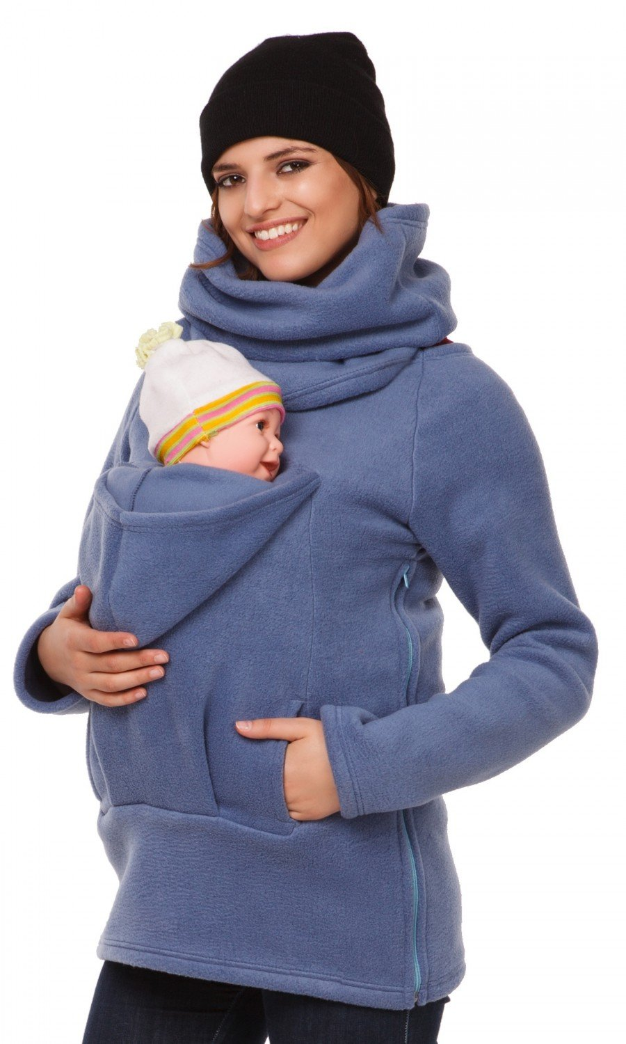 Happy Mama. Women's Maternity Fleece Hoodie Back Front Carrier Baby Holder. 030p carrierhood_030
