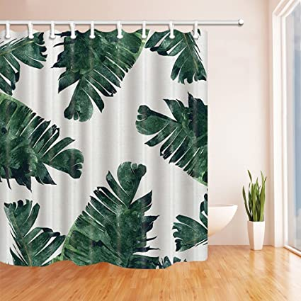 KOTOM Leaves Shower Curtains For Bathroom Tropical Rainforest Banana Leaf Green Plants White Backdrop