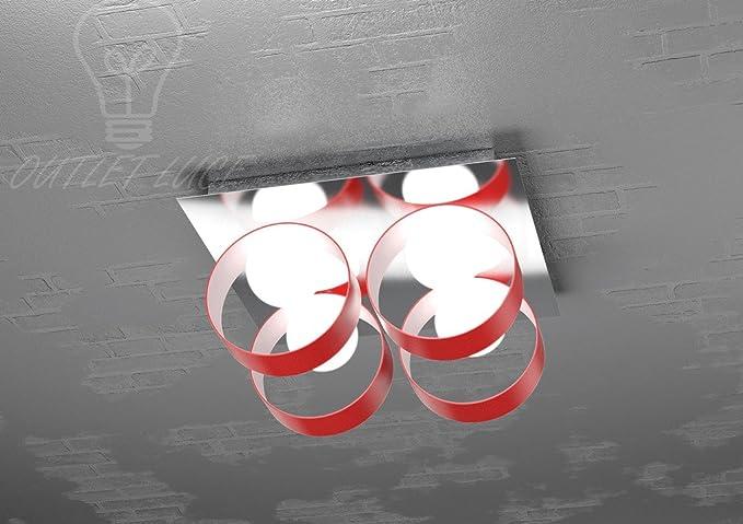Plafoniera luci con cilindri in vetro soffiato rosso particolare
