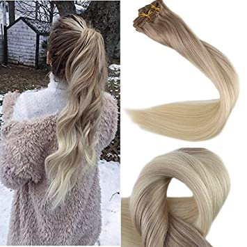 Hair Extensions & Wigs New Fashion Full Shine Ash Blonde Human Hair Extensions Clip In Hair 10pcs 120gram Color 1b Fading To 18 Ombre Remy Hair Extension Clip-in Full Head