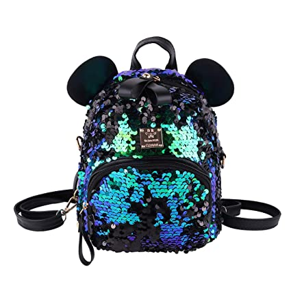 CHICTRY Cute Glittery Sequins Shoulder Bag Small Bear Ear Backpack Satchel Schoolbag Outdoor Travel Casual Daypack
