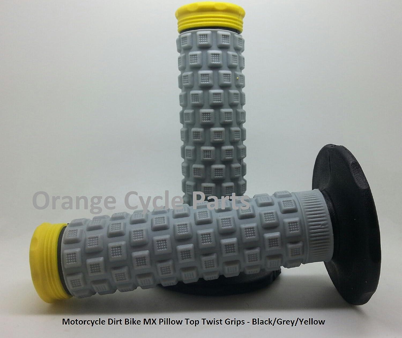 Motorcycle Dirt Bike MX Pillow Top Twist Grips Black//Grey//Yellow Aftermarket OCP-024853
