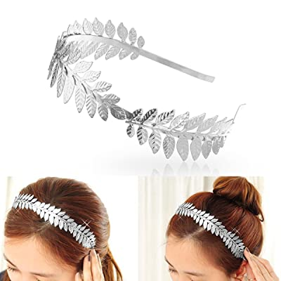 SALOCY Headbands Leaf Branch Bridal Hair Crown Head (Silver)