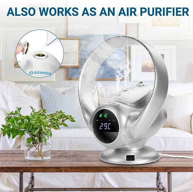 Alfawise Ventilador sin aspas, con humidificador, Ultra Silencioso ...