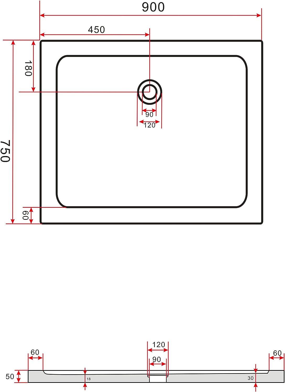 Glasdeals Receveur de douche carr/é ultra-plat Blanc /Épaisseur 50 mm 90 x 90/cm
