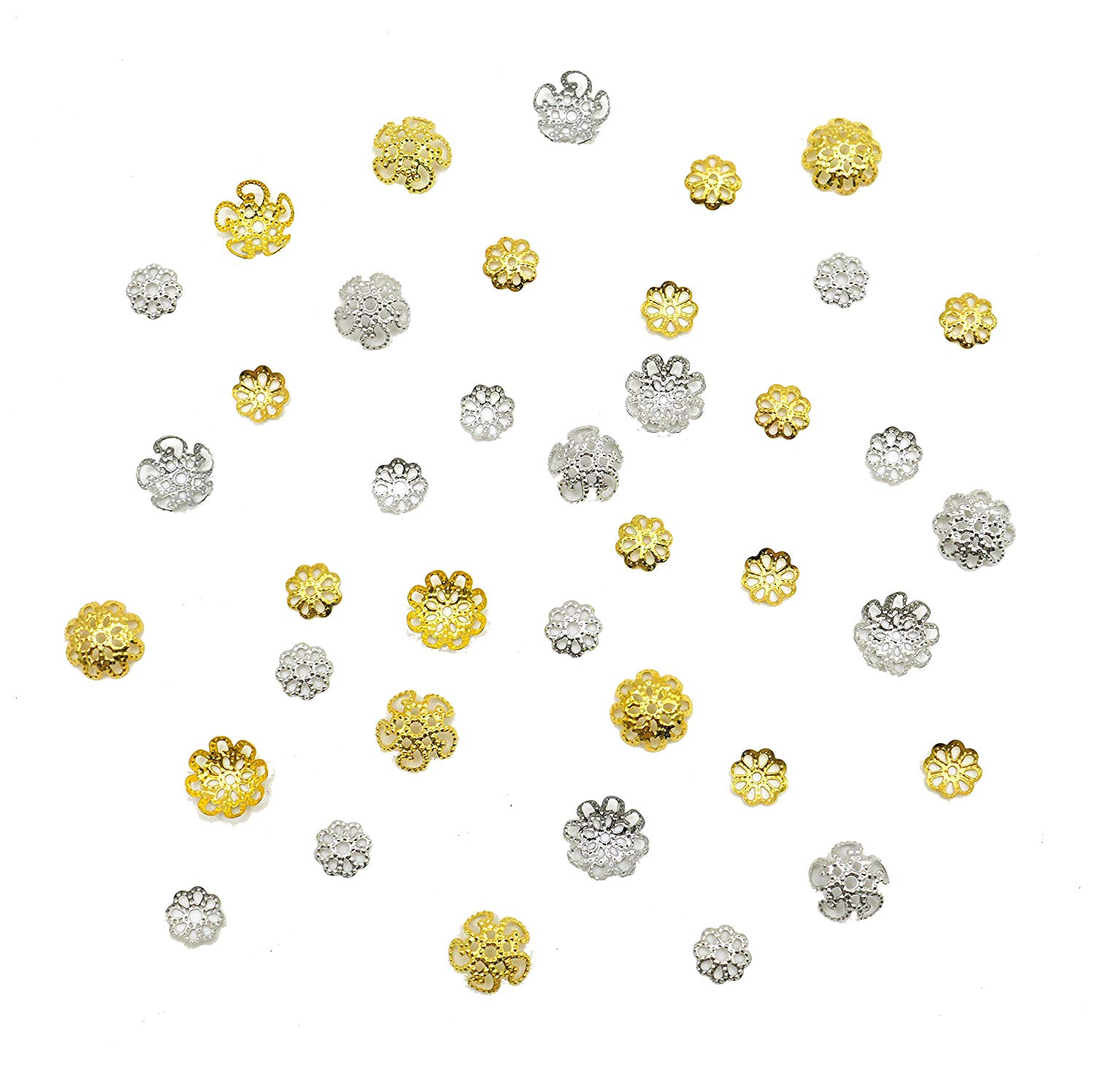 MosBug 600PCS Gold Silver Iron Filigree Flower 7mm 9mm 10mm Bead Caps for Jewelry Making End Caps