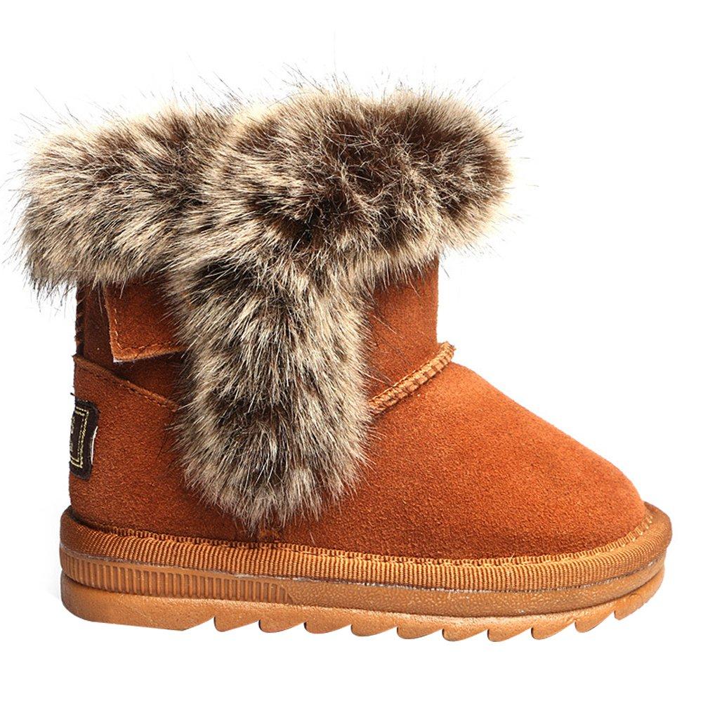 Eclimb Kids Unisex Suede Leather Warm Fur Winter Snow Boot Toddler//Little Kid