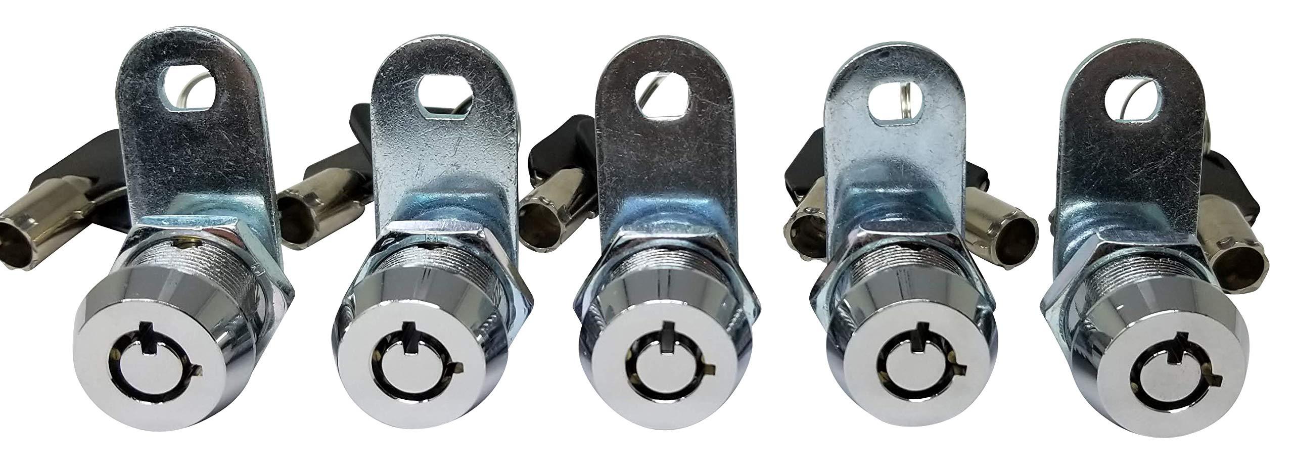 Tubular Cam Lock with Chrome Finish, Keyed Alike Removable Key (5/8'', Pack of 5) by Products Quad (Image #6)