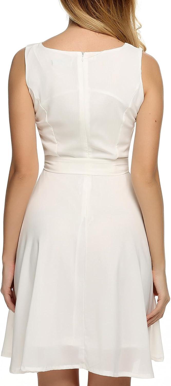Zeagoo Damen Chiffonkleid Brautjungfernkleid Partykleid Hochzeit Kleider Festkleid mit G/ürtel Einfarbig