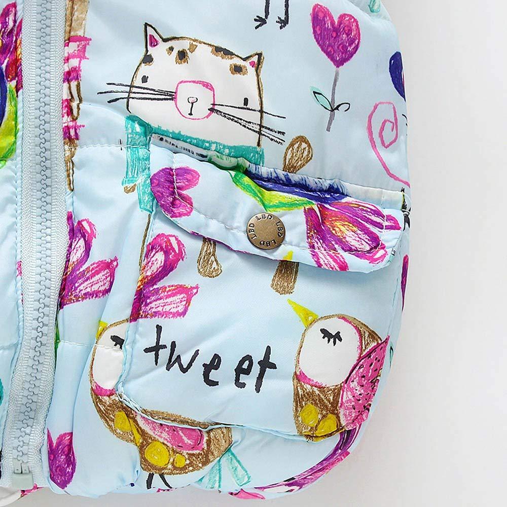 Anxinke Toddlers Little Girls Cartoon Printed Pockets Hooded Down Vest
