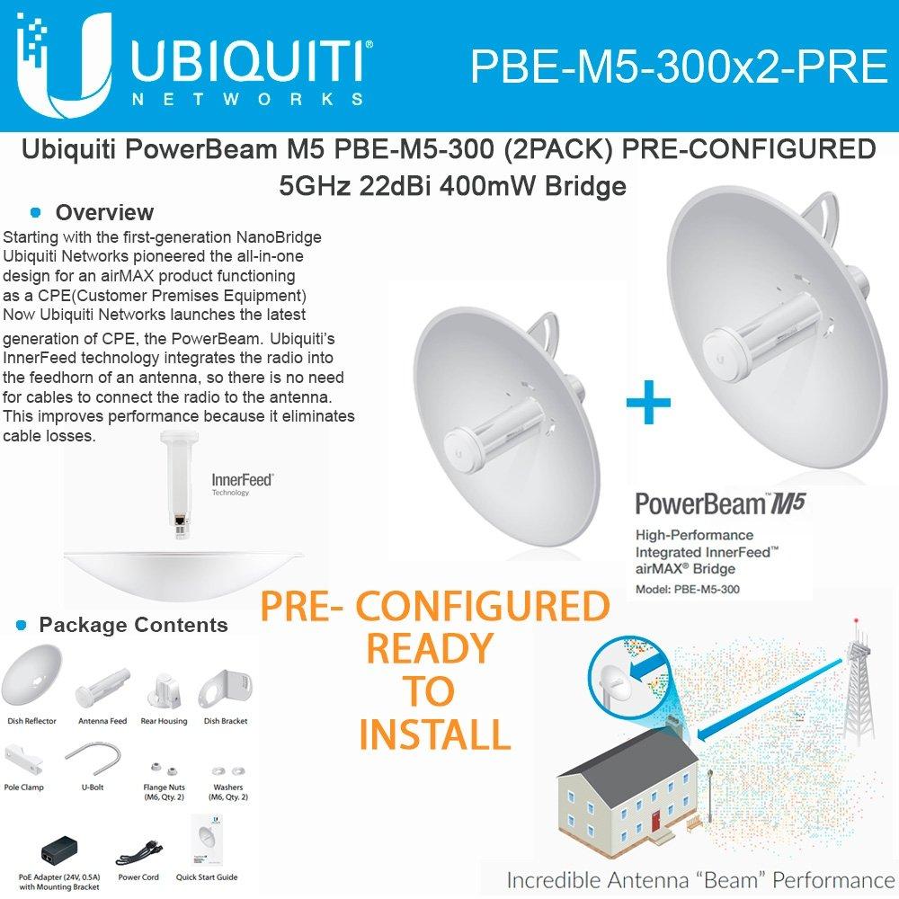 Ubiquiti PowerBeam M5 PBE-M5-300 2PACK PRE-CONFIGURED 5GHz 22dBi 400mW Bridge by Ubiquiti Networks