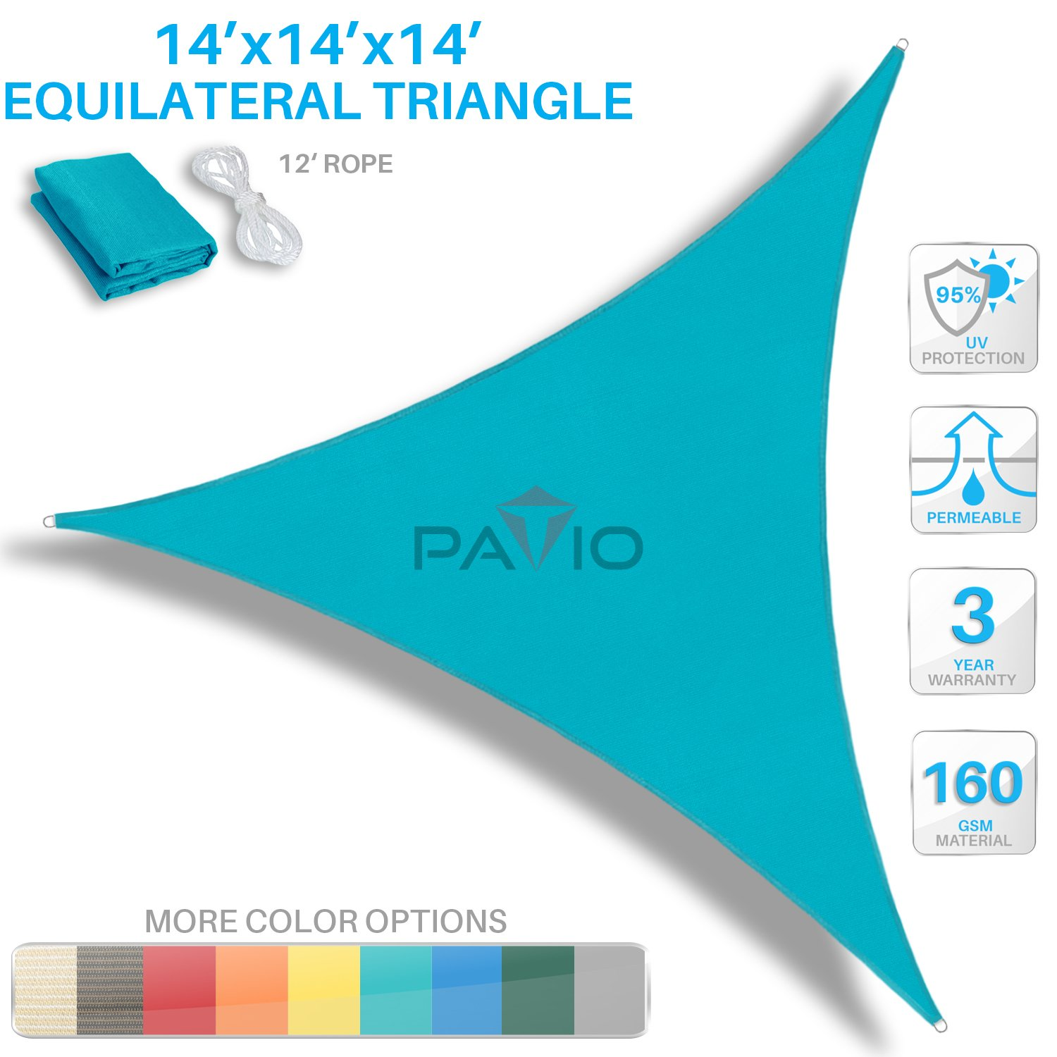 Patio Paradise 14' x 14' x 14' Turquoise Green Sun Shade Sail Equilateral Triangle Canopy - Permeable UV Block Fabric Durable Outdoor - Customized Available