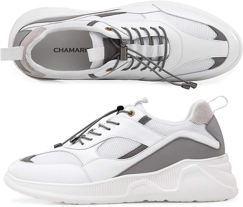 CHAMARIPA Ascenseur Chaussures pour Hommes - 7CM Hauteur Croissante Chaussures Ascenseur Sneaker Respirant Chaussures Sport, Blanc H92C102D211D Blanc