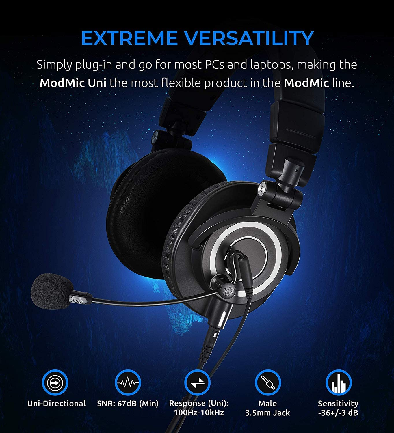 Audio-Technica ATH-M50x Closed-Back Monitor Headphones Mic Black and Blucoil Y Splitter for Audio Bundle with Antlion Audio ModMic Uni with Mute Switch
