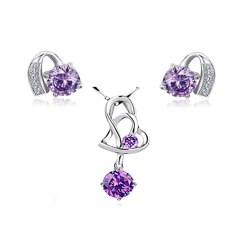Majesto 925 Sterling Silver Purple Crystal Pendant Necklace Stud Earrings Set for Women Teen Girls Gift