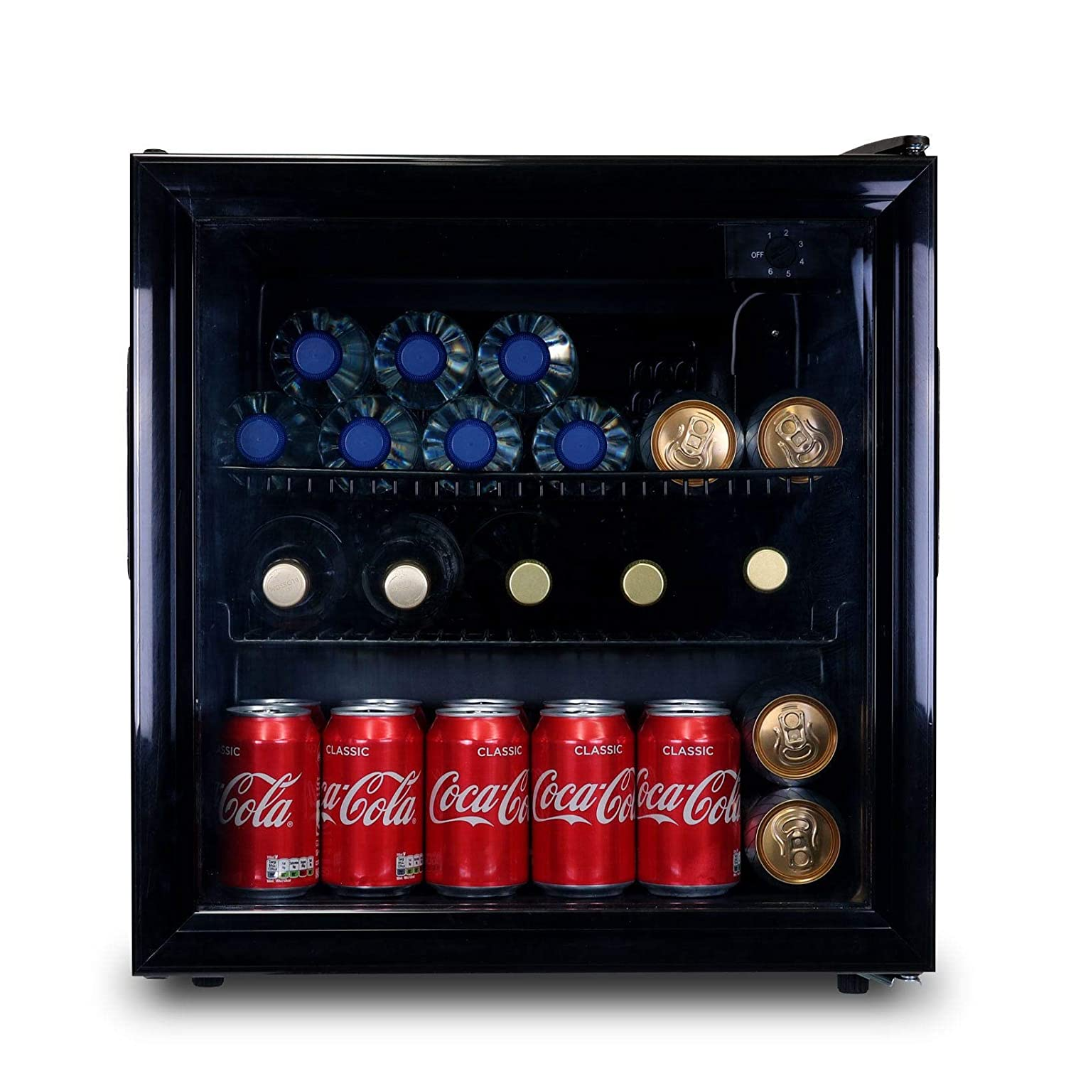 SIA DC2BL 52L Black Free Standing Glass Door Table Top Mini Drinks Fridge