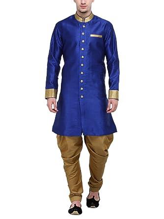 6521d9266 RG DESIGNERS Men's Silk Plain Sherwani (Blue and Gold, 38): Amazon ...