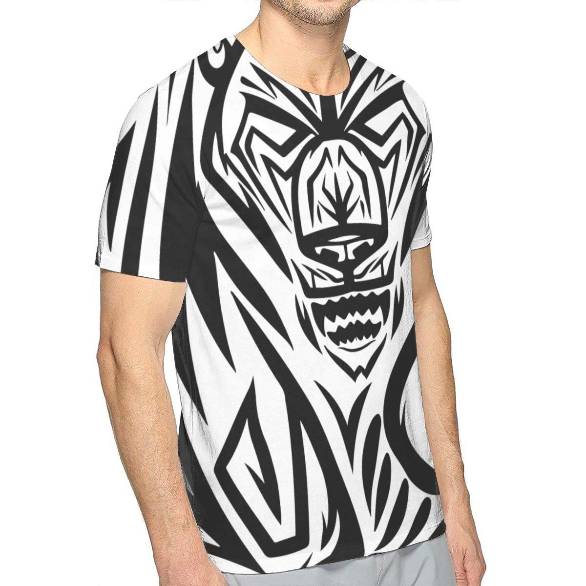 TIMQIJIAN Mens Tribal Bear Fan 100/% Cotton Crewneck Fation Short Sleeve Adult Shirt