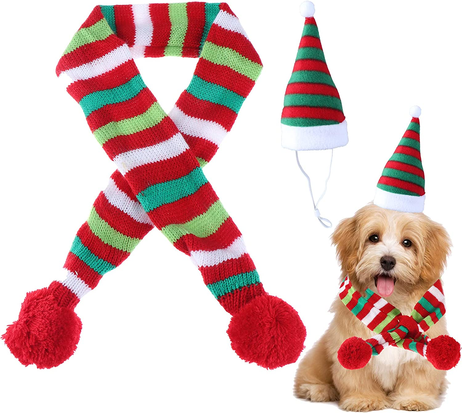 Christmas Pet Hat Scarf Striped Xmas Costume New Year Dressing up for Dog Puppy Cat M
