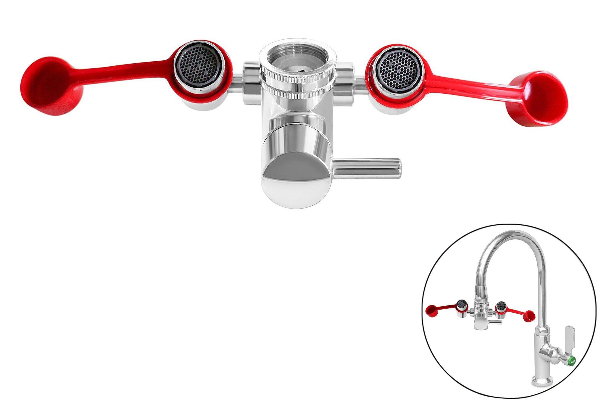 SmarterFresh Faucet Mounted Eyewash Station, Emergency Eye Wash Unit for Sink Attachment - Sink Mount Eye Flush Shower
