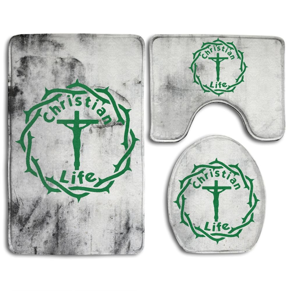 Christian Life Fashion Bath Mat Set 3 Pieces Indoor Decor Bathroom Rug Set Contour Mat Toilet Seat Cover