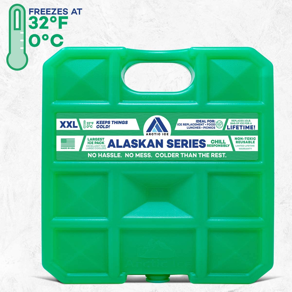 Arctic Ice Alaskan Series Reusable Ice Pack for Coolers, Lunch Boxes, Camping, Fishing, Hunting and More, Freezes at 33.8F - XX-Large (10 LBS)
