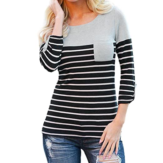fc12ac9a556 Image Unavailable. Image not available for. Color  Amanod Women s Long  Sleeve Round Neck Block Stripe T-Shirt Tops Blouse