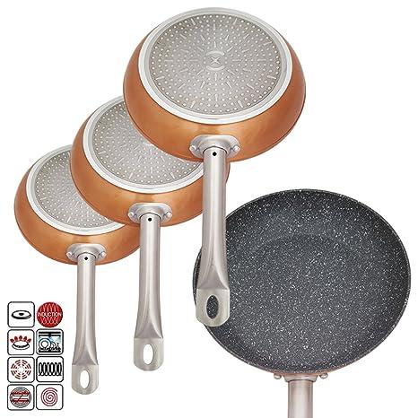 Juego profesional de sartenes de chef, con revestimiento de cobre de aluminio antiadherente, incluye